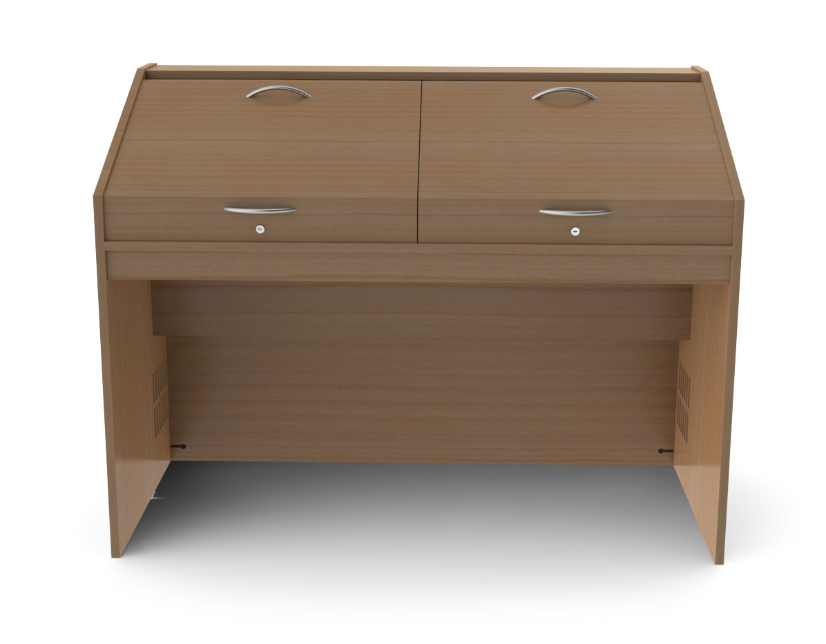 A 2 Person Mixing Desk Unit Made From High Quality, Real Wood Veneered 19mm  MDF. Also Available As A 3 Person Option.