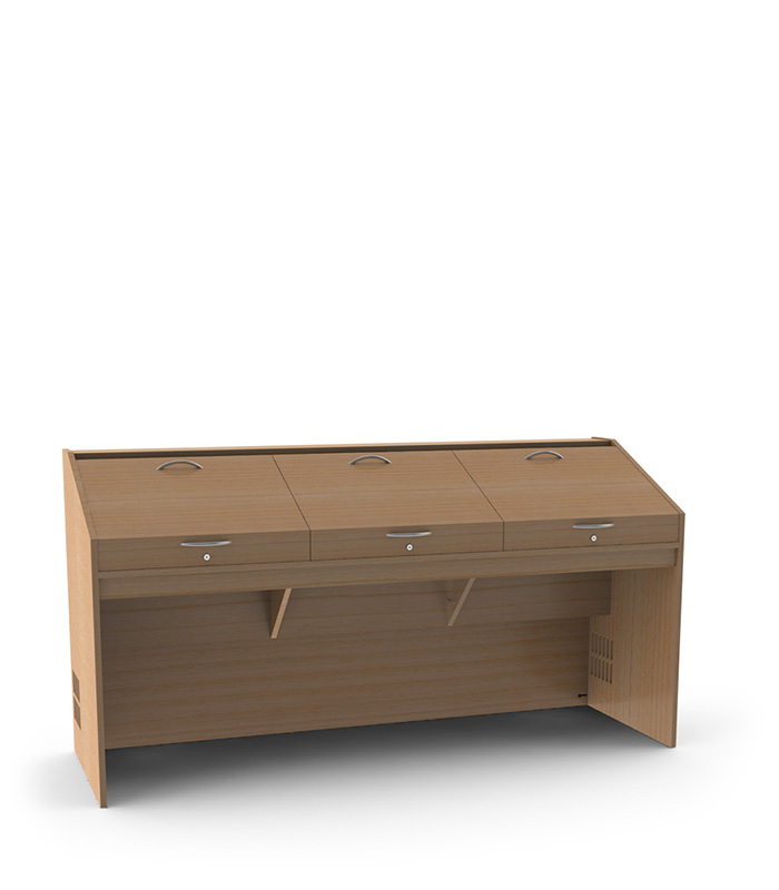 A 3 Person Mixing Desk Unit Made From High Quality, Real Wood Veneered 19mm  MDF. Also Available As A 2 Person Option.