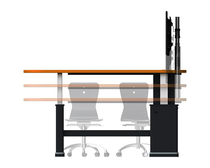 Height Adjustable Collaborative Huddle Desk